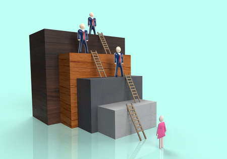Female employee standing at bottom of corporate ladder with male executives an representing inequality in business
