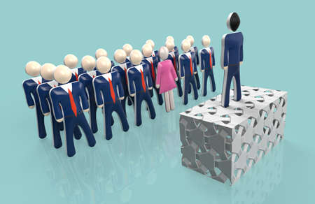 group of businessmen listening to their boss during a meeting. Only one woman is present. Concept of minority woman in business. 3d rendering