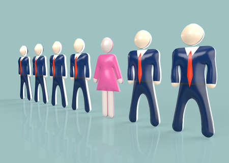 3D rendering of female employee in pink dress amidst businessmen in suits representing inequality in business