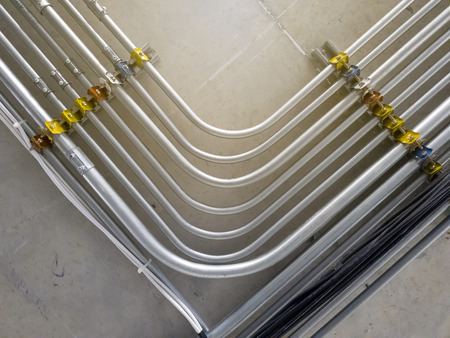 Pipeline for electrical wire that install at ceiling.While the building is under constructiion Stockfoto