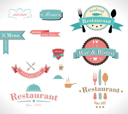 Collection of vintage retro grunge restaurant labels