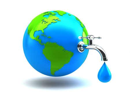 bionomics: water crane on green earth