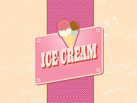 ice cream vanilla: ice cream retro design