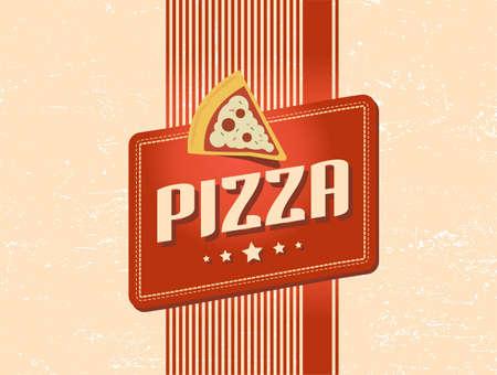 pizzeria label: dise�o retro de pizza Vectores