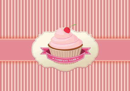 cupcake illustration: Cupcake background retro