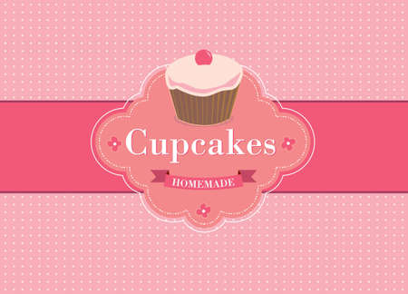 background retro cupcake Vector