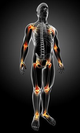 dolor de pecho: 3d rindi� la m�dica de rayos X ilustraci�n de la anatom�a del cuerpo masculino con dolor en las articulaciones Foto de archivo