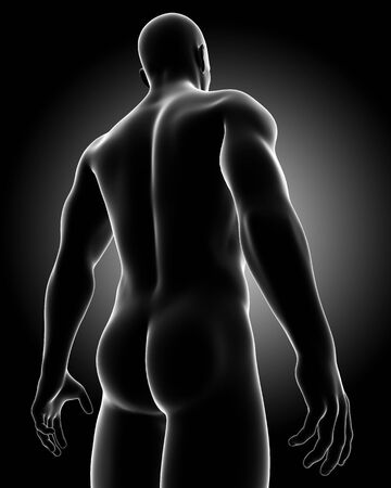 3d rendered medical x-ray illustration of Male nude body in black  anatomy Stock Illustration - 13757478