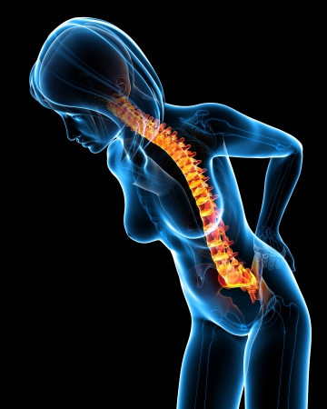 aching muscles: Back pain in black of female