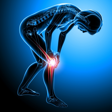 Knee pain in blue Stock Photo - 13757760