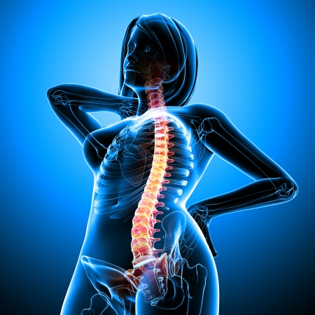 muscle tension tense: Back pain of female body Stock Photo