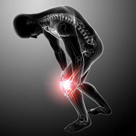 knee pain of male in gray Stock Photo - 13757786