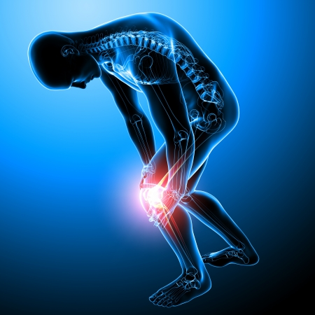 knee pain of male in blue photo