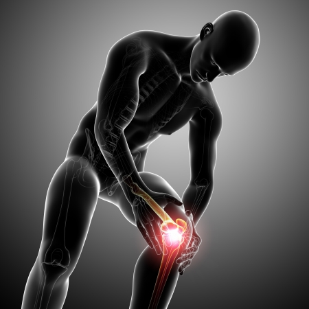 painful: Anatomy of male knee pain in gray