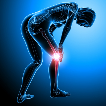 full body female knee pain in blue photo