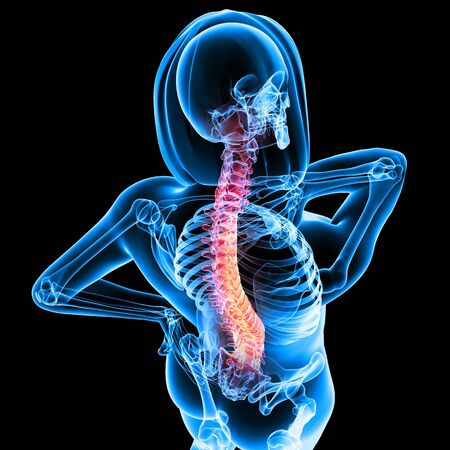 man back pain: Spine pain in blue background