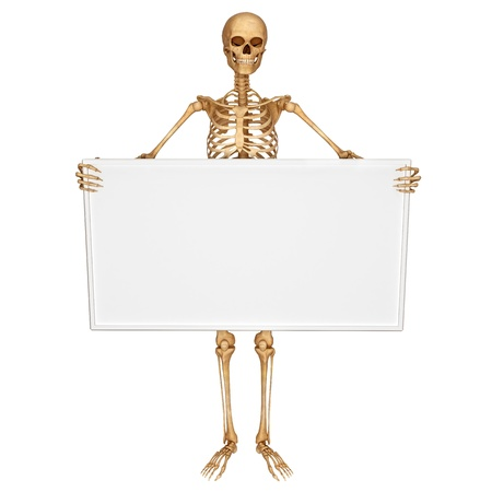 skeleton showing sign