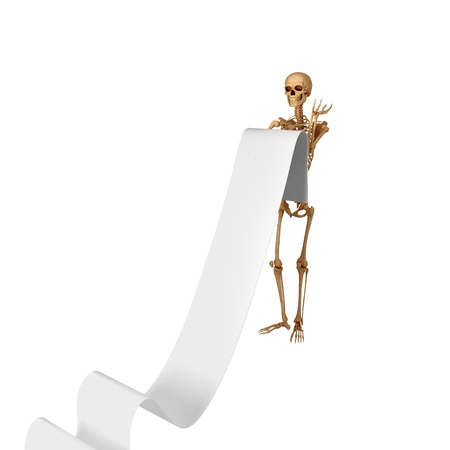 3d halloween: skeleton carrying a long list Stock Photo