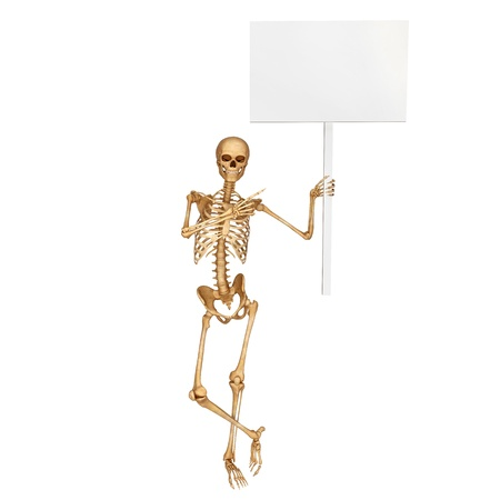 skeleton carrying sign Stock Photo