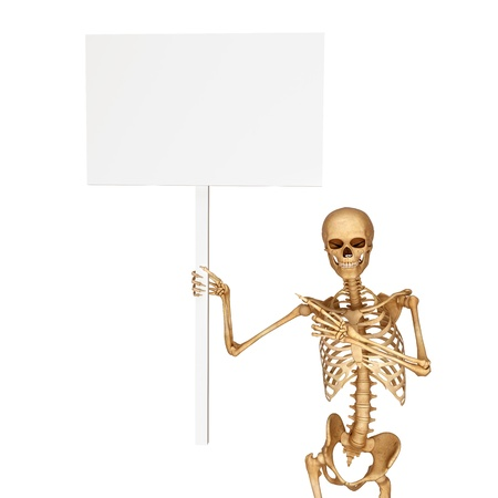 skeleton carrying a sign with hand photo