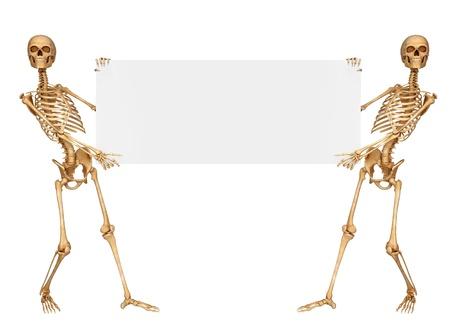squelette: deux tenant une pancarte de squelette