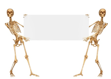 two skeleton holding sign photo