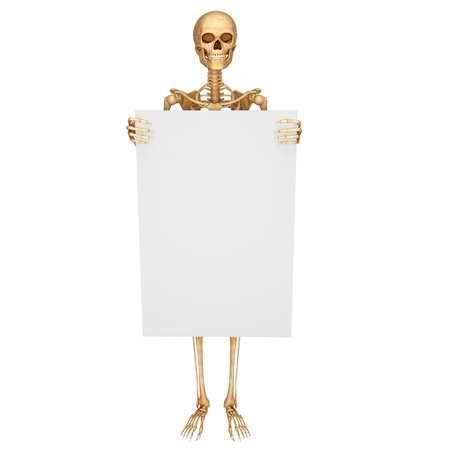 skeleton holding sign isolated with blank photo