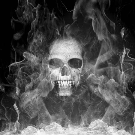 skeleton skull with smoke Stock Photo