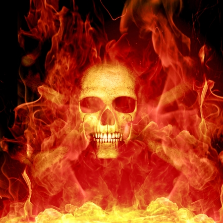 skull with fire photo