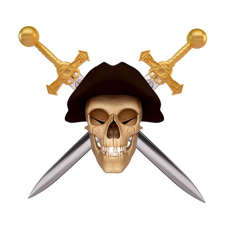 smiling skull covered with black cap and two sword Stock Photo - 15123267