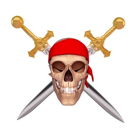 smiling skull covered with red scarf and two sword