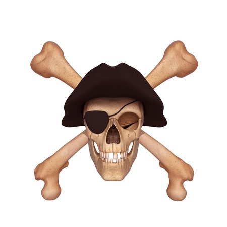 ancient skull with two bones and black cap photo