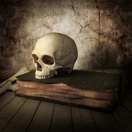 front view of ancient skull with book photo