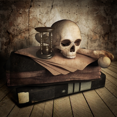 side view of ancient skull with lots books photo