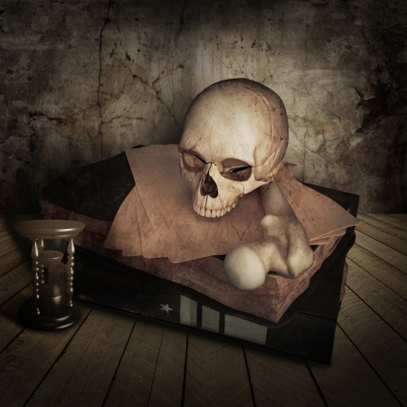 ancient skull with books photo