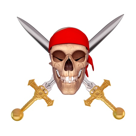two sword in apposite direction with skull photo