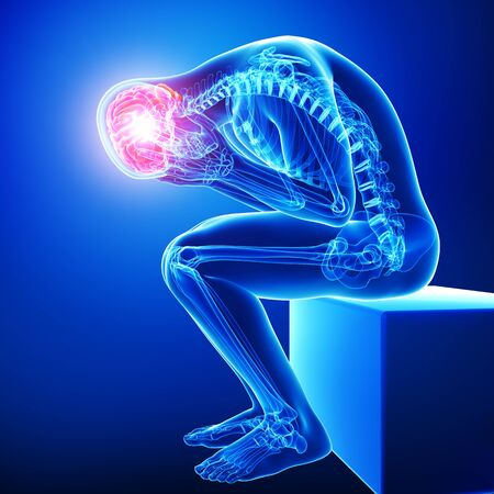 brain pain in blue Stock Photo - 15482207