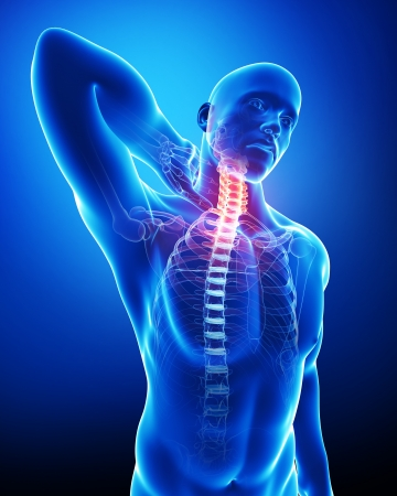 muscle tension: male neck pain in blue
