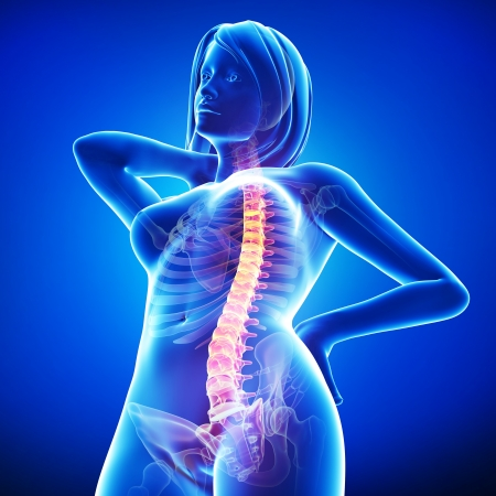 sore muscles: female back pain in blue Stock Photo
