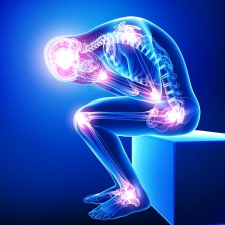 bol: mężczyzna cały ból stawów w kolorze niebieskim