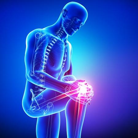 articulaciones: Anatomía del dolor de rodilla masculina en azul Foto de archivo