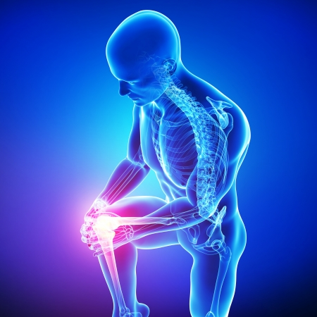 huesos humanos: dolor en la rodilla masculina en azul