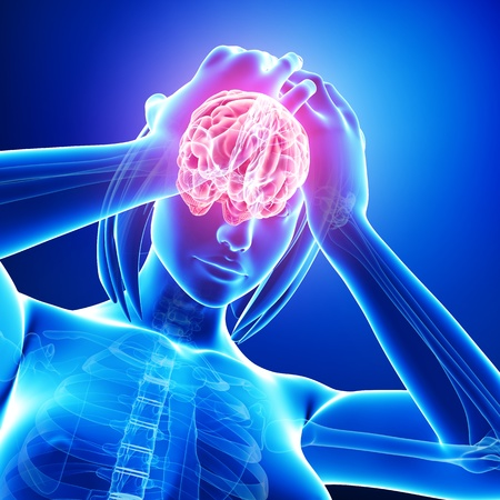 female brain pain in blue Stock Photo - 15482502
