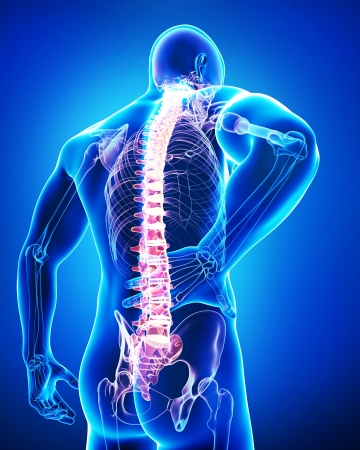 aching muscles: male back pain in blue Stock Photo