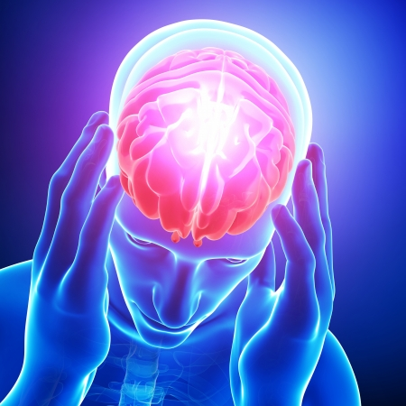 cerebro humano: dolor en el cerebro azul