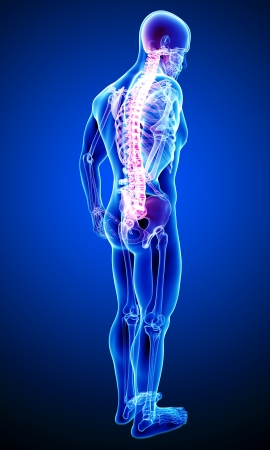 back pain of male in blue photo
