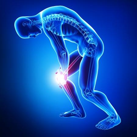 青で男性の膝の痛み 写真素材