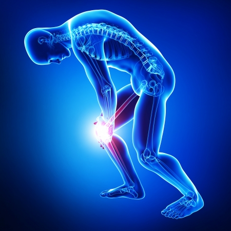 male knee pain in blue