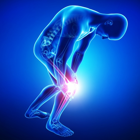 male knee pain in blue