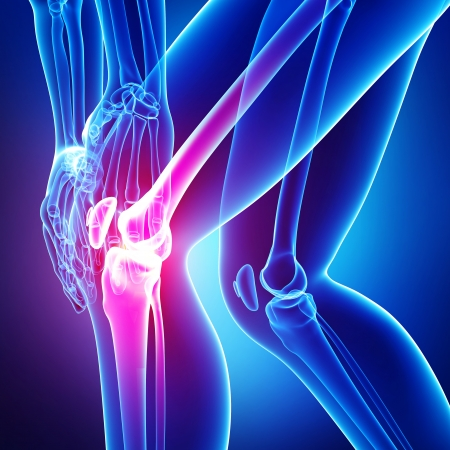 de rodillas: Anatomía del dolor de rodilla en azul Foto de archivo